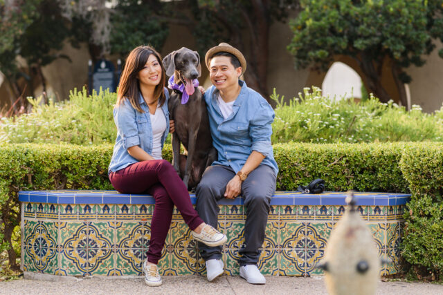 Fun engagement session at Balboa Park, San Diego, California with couple, their dog by Simply Perfect Images